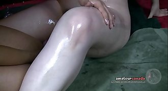 Asian GF and Collared wet hairy submissive cums with shock toy