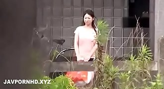 Japanese housewife fucked outside the house husband is inwards