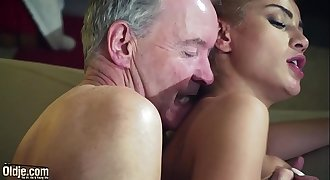Old Man Dominated by sexy hot honey in old youthful femdom hardcore fucking