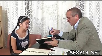Beauty is offering her love tunnel for teacher's lusty enjoyment