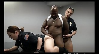 White Cop And Fucking partner Banged On Desk By Dat Dark Dink