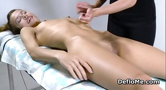 Hairy cutie with puffy nipples enjoys cherry massage