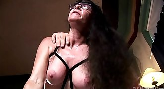 Horny old spunker in sexy lingerie loves a sticky facial cumshot