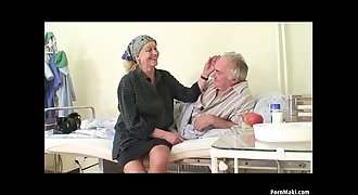Granny observes grandpa fucks nurse in hospital