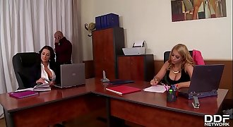 Celebration at office makes chief bang busty stunners Patty Michova & Kyra Hot