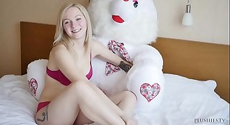 18 years old Kate S first time on camera, interview includes anal sex and cumshot with teddy bear Jack