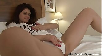 Playful Teen Strips and Masturbates Gaping Cunt with Vibe