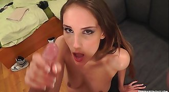 Tina Blade covered in cum after perfect BJ