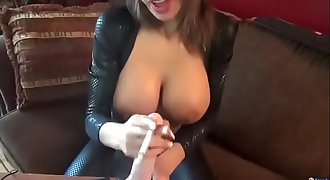 Agentsexyhot smoking and playing with toy