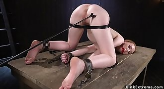 Small tits slave puffies pulled in dungeon space