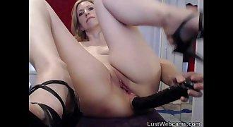Blonde MILF toys her nut sack on webcam