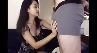 Seira sucking and kissing my white cock