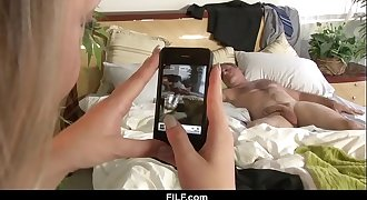 BFF sees Dads big hard-on while he naps