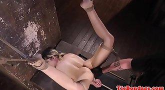 Spreadeagle Bondage & Discipline sub restrained for fingering