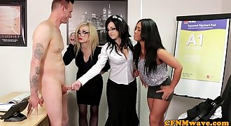 Euro CFNM female dom sucking cock in office