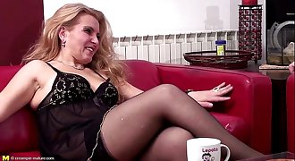 Blonde mature gets ass fucked and creampied