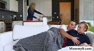 Cory Chase and Bailey Brooke threesome lovemaking on the couch