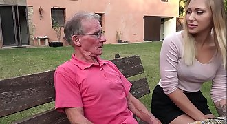Blonde hot ass assfuck fucked by horny grandpa