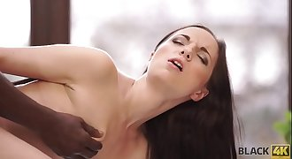 BLACK4K. Young lassie is very interested in big cock of black dude