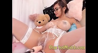 Latina Covered in Cream Fucked By Sex Machine