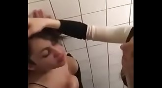 Horny lesbians sex in bathroom